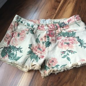 Current/Elliot Floral Denim Shorts
